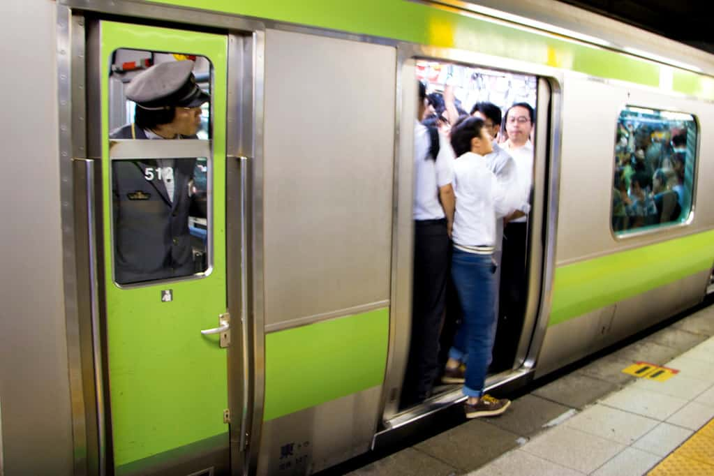Crowded JR Yamanote Train in Tokyo, Japan