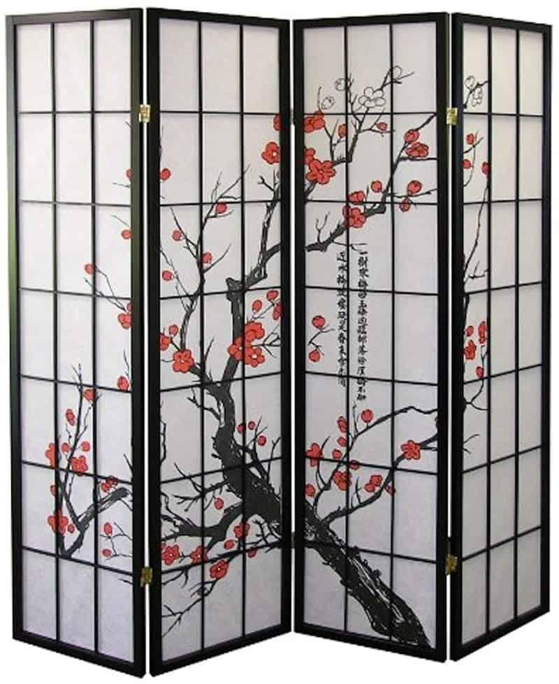 Legacy Decor 4-Panel Blossom Japanese Shoji Screen Room Divider