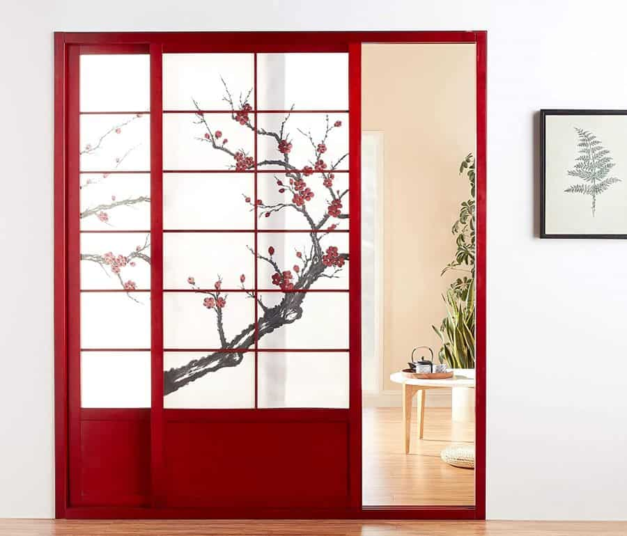 Oriental Furniture 7 ft. Tall Cherry Blossom Japanese Shoji Screen Sliding Door