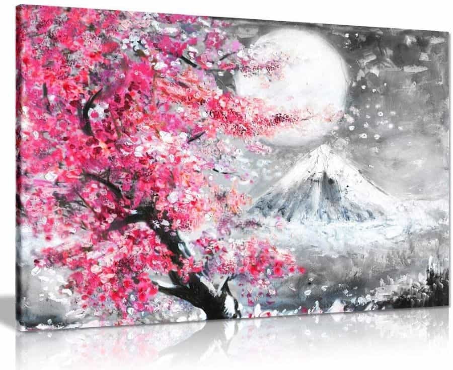 5 Pink Black & White Oil Painting Japanese Cherry Blossom Landscape Canvas Wall Art Picture Print
