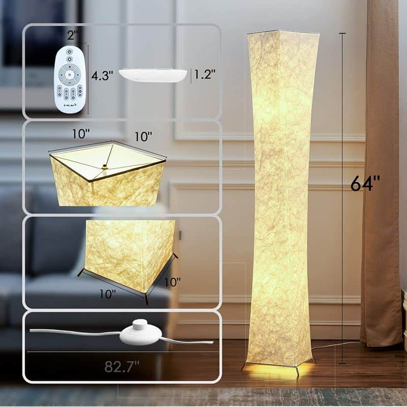 Japanese Rice Paper Floor Lamp, CHIPHY 64'' Tall