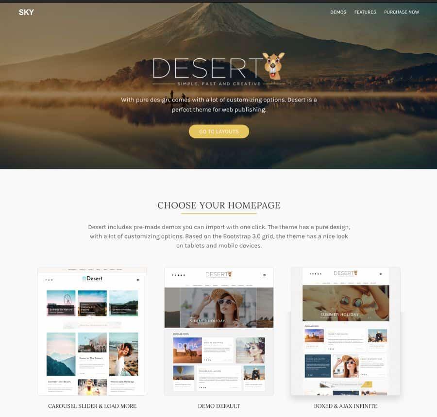 Desert Theme - WordPress Travel Blog Theme