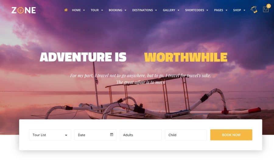 Zone Theme - Tours & Travel Responsive WordPress Theme
