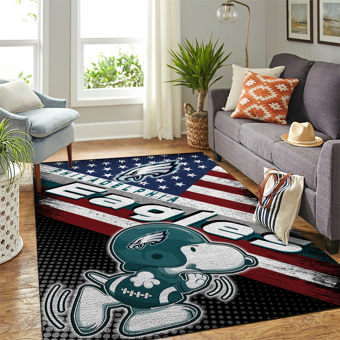 Philadelphia Eagles Nfl Team Logo Snoopy Us Style Nice Gift Home Decor Rectangle Area Rug Travels In Translation
